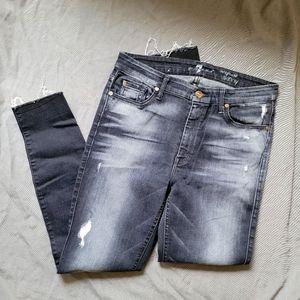 7FAM   Charcoal Grey High Waist Skinny Jeans 31
